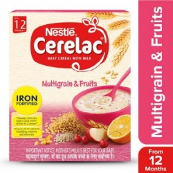 NESTLE CERELAC FORTIFIED BABY CEREAL WITH MILK, MULTIGRAIN & FRUITS 300G.
