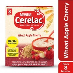 NESTLE CERELAC FORTIFIED BABY CEREAL WITH MILK, WHEAT APPLE CHERRY 300G.