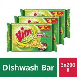 VIM DISHWASH BAR, 200 G PACK OF 3
